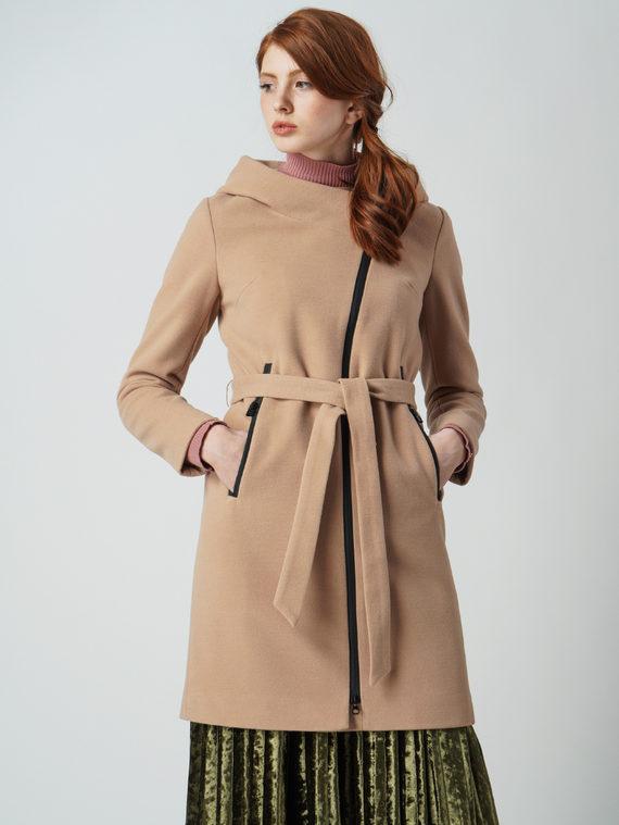 Текстильное пальто 30%шерсть, 70% п\а, цвет бежевый, арт. 01003642  - цена 4990 руб.  - магазин TOTOGROUP
