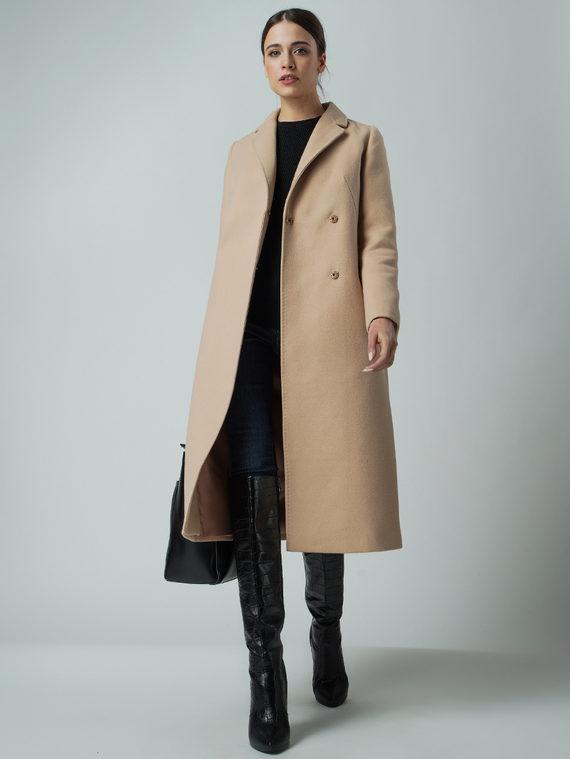 Текстильное пальто 30%шерсть, 70% п.э, цвет бежевый, арт. 01005650  - цена 5890 руб.  - магазин TOTOGROUP