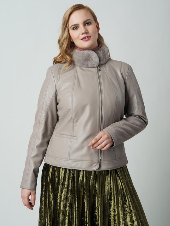 Кожаная куртка эко кожа 100% П/А, цвет бежевый, арт. 01005776  - цена 5590 руб.  - магазин TOTOGROUP