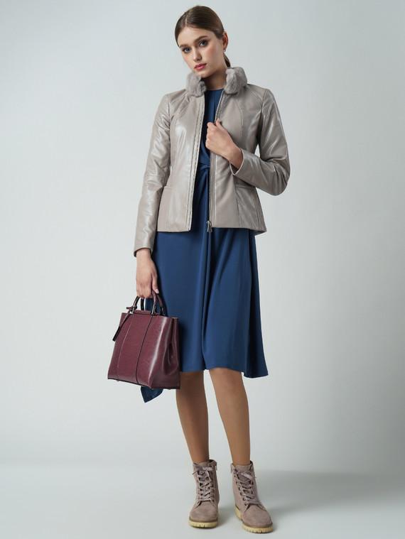 Кожаная куртка эко кожа 100% П/А, цвет бежевый, арт. 01005779  - цена 6630 руб.  - магазин TOTOGROUP