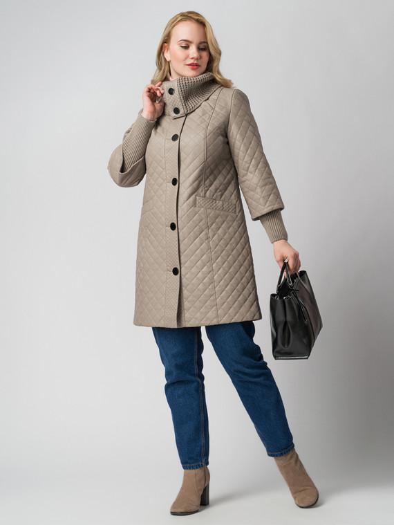 Кожаное пальто эко кожа 100% П/А, цвет бежевый, арт. 01005787  - цена 9990 руб.  - магазин TOTOGROUP