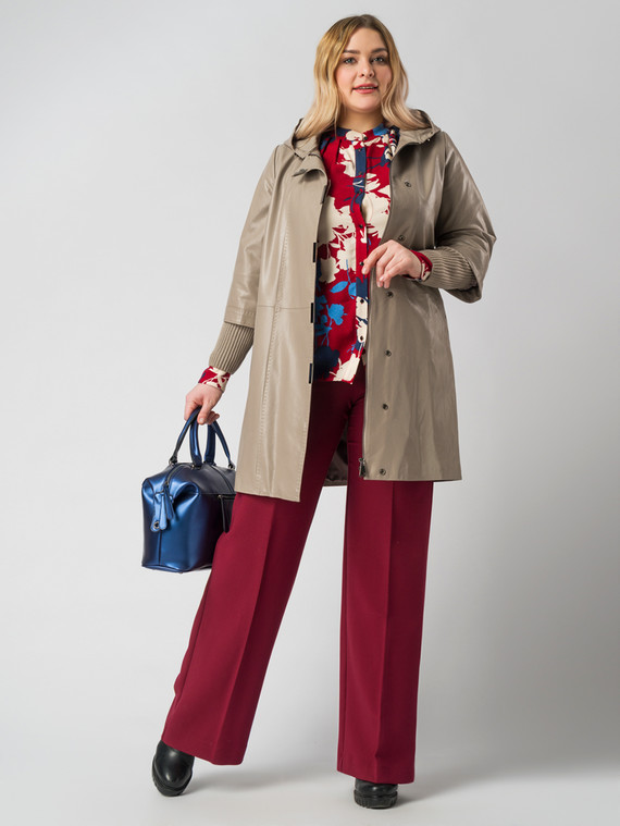 Кожаное пальто эко кожа 100% П/А, цвет бежевый, арт. 01005790  - цена 9990 руб.  - магазин TOTOGROUP