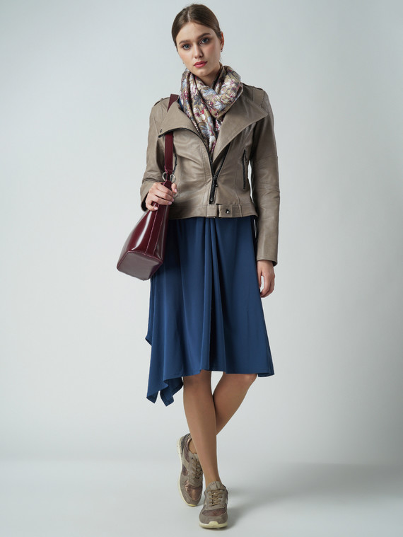 Кожаная куртка эко кожа 100% П/А, цвет бежевый, арт. 01005797  - цена 6630 руб.  - магазин TOTOGROUP