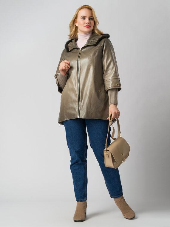 Кожаная куртка эко кожа 100% П/А, цвет бежевый, арт. 01005801  - цена 8490 руб.  - магазин TOTOGROUP
