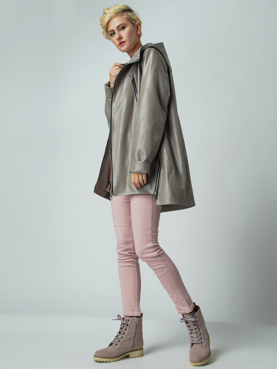 Кожаная куртка эко-кожа 100% П/А, цвет бежевый, арт. 01005884  - цена 4490 руб.  - магазин TOTOGROUP