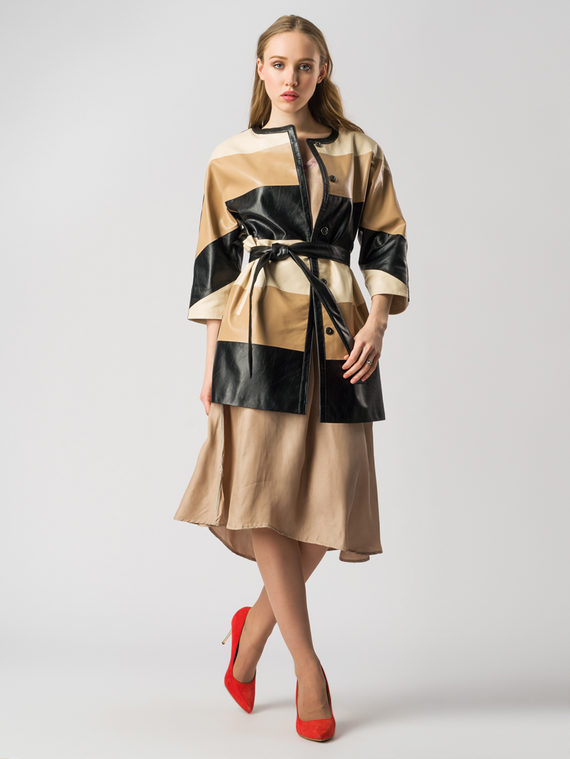 Кожаное пальто эко кожа 100% П/А, цвет микс, арт. 01005888  - цена 6990 руб.  - магазин TOTOGROUP