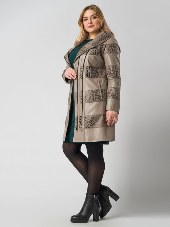 Кожаное пальто эко кожа 100% П/А, цвет бежевый, арт. 01005890  - цена 5590 руб.  - магазин TOTOGROUP