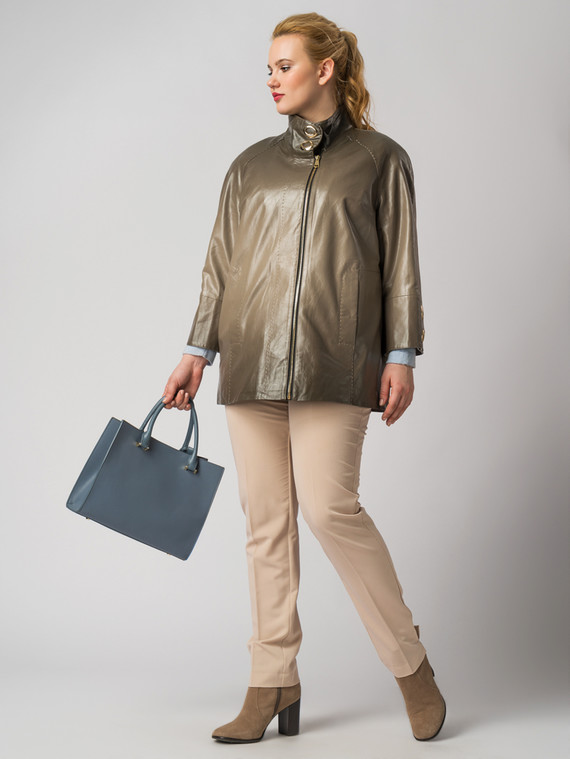 Кожаная куртка эко кожа 100% П/А, цвет бежевый, арт. 01005891  - цена 6290 руб.  - магазин TOTOGROUP