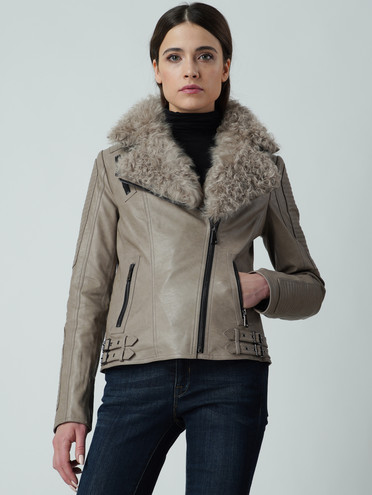 Кожаная куртка эко кожа 100% П/А, цвет серый, арт. 01005895  - цена 11290 руб.  - магазин TOTOGROUP
