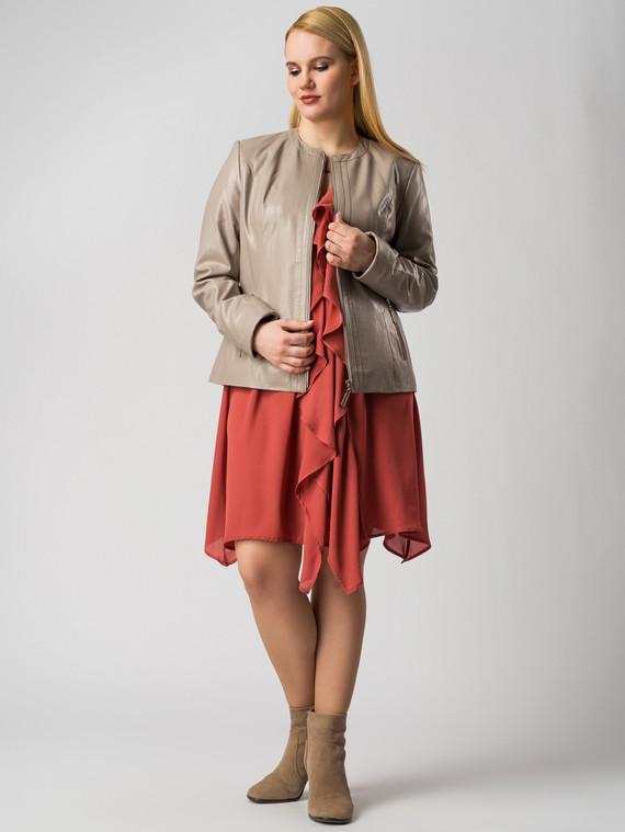 Кожаная куртка эко кожа 100% П/А, цвет бежевый, арт. 01005981  - цена 5290 руб.  - магазин TOTOGROUP