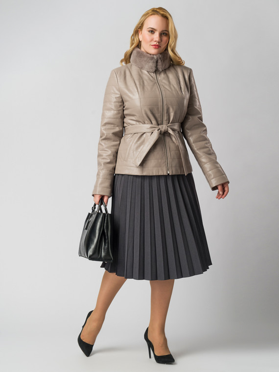 Кожаная куртка эко кожа 100% П/А, цвет бежевый, арт. 01006154  - цена 6290 руб.  - магазин TOTOGROUP