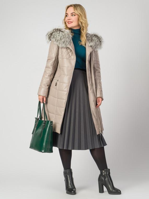 Кожаное пальто эко-кожа 100% П/А, цвет бежевый, арт. 01006186  - цена 13390 руб.  - магазин TOTOGROUP