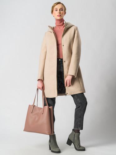 Текстильное пальто 30%шерсть, 70% п\а, цвет бежевый, арт. 01006609  - цена 7490 руб.  - магазин TOTOGROUP