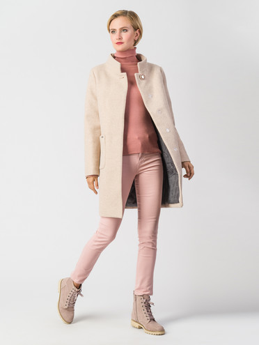 Текстильное пальто 30%шерсть, 70% п\а, цвет светло-бежевый, арт. 01006610  - цена 7490 руб.  - магазин TOTOGROUP
