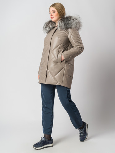 Кожаное пальто эко кожа 100% П/А, цвет бежевый, арт. 01006680  - цена 15990 руб.  - магазин TOTOGROUP