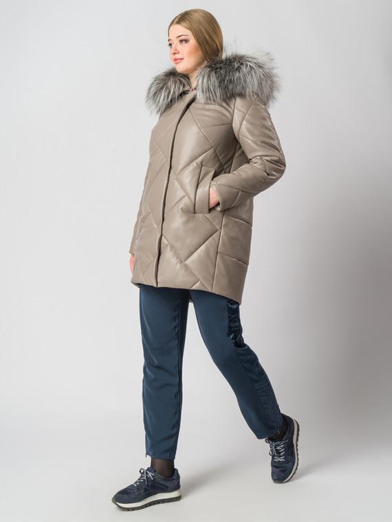 Кожаное пальто эко-кожа 100% П/А, цвет бежевый, арт. 01006680  - цена 6990 руб.  - магазин TOTOGROUP