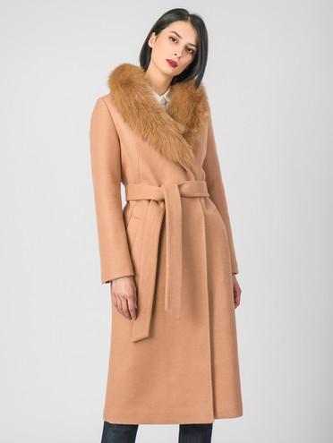 Текстильное пальто 30%шерсть, 70% п.э, цвет бежевый, арт. 01006794  - цена 7990 руб.  - магазин TOTOGROUP
