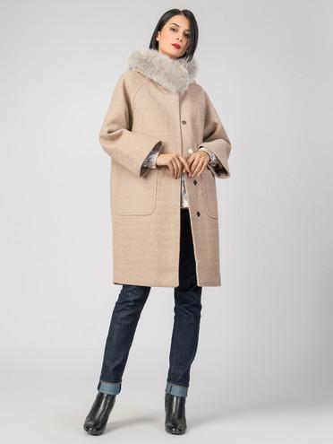 Текстильное пальто 30%шерсть, 70% п.э, цвет бежевый, арт. 01006796  - цена 6630 руб.  - магазин TOTOGROUP
