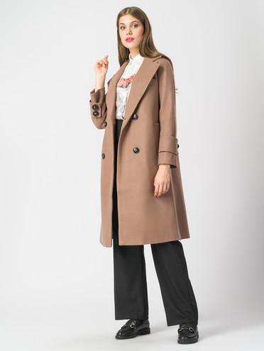 Текстильное пальто 30%шерсть, 70% п.э, цвет светло-коричневый, арт. 01006818  - цена 5590 руб.  - магазин TOTOGROUP