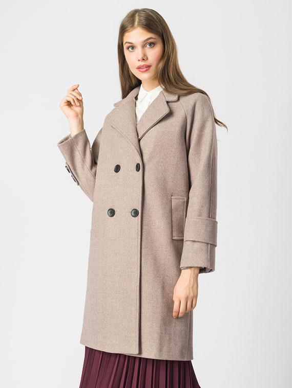 Текстильное пальто 30%шерсть, 70% п.э, цвет бежевый, арт. 01006819  - цена 7490 руб.  - магазин TOTOGROUP