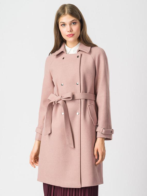 Текстильное пальто 30%шерсть, 70% п.э, цвет розовый, арт. 01006820  - цена 7490 руб.  - магазин TOTOGROUP