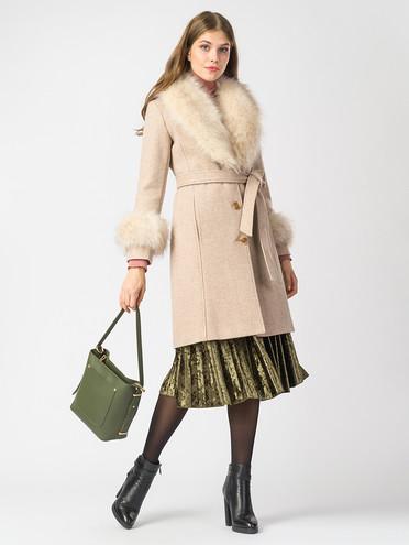 Текстильное пальто 30%шерсть, 70% п.э, цвет светло-бежевый, арт. 01006821  - цена 4740 руб.  - магазин TOTOGROUP