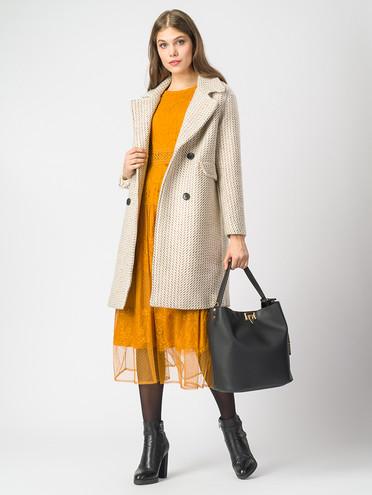 Текстильное пальто 30%шерсть, 70% п.э, цвет светло-бежевый, арт. 01006823  - цена 4490 руб.  - магазин TOTOGROUP