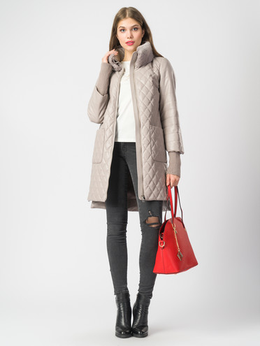 Кожаное пальто эко-кожа 100% П/А, цвет бежевый, арт. 01006844  - цена 9490 руб.  - магазин TOTOGROUP