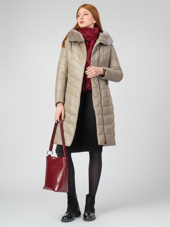 Кожаное пальто кожа, цвет бежевый, арт. 01006860  - цена 19990 руб.  - магазин TOTOGROUP