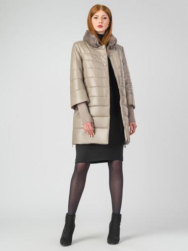 Кожаное пальто кожа, цвет бежевый, арт. 01006862  - цена 16990 руб.  - магазин TOTOGROUP