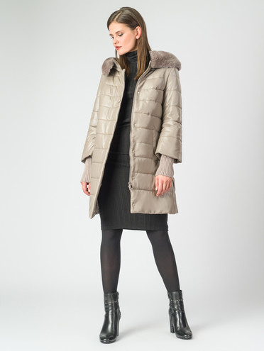 Кожаное пальто кожа , цвет бежевый, арт. 01006893  - цена 26990 руб.  - магазин TOTOGROUP