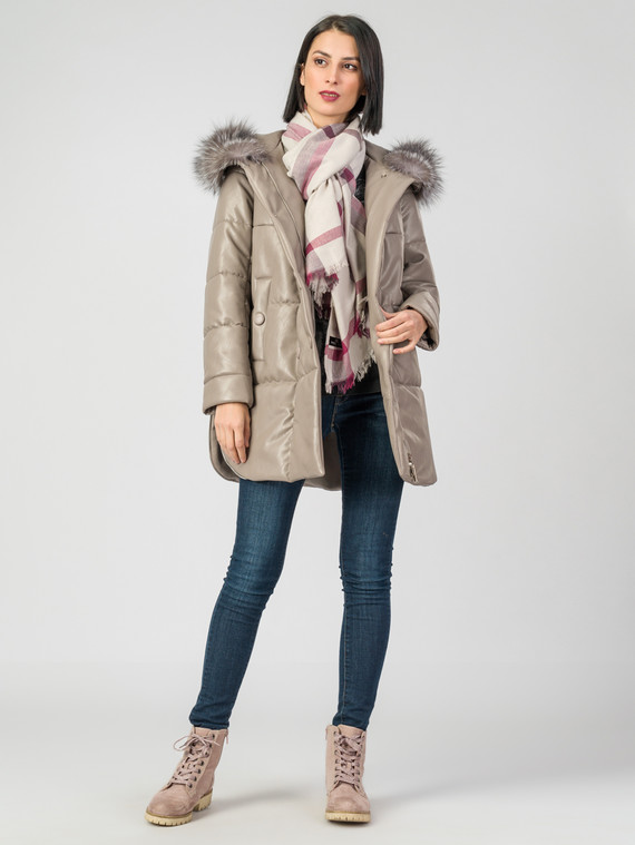 Кожаное пальто эко-кожа 100% П/А, цвет бежевый, арт. 01006974  - цена 7990 руб.  - магазин TOTOGROUP