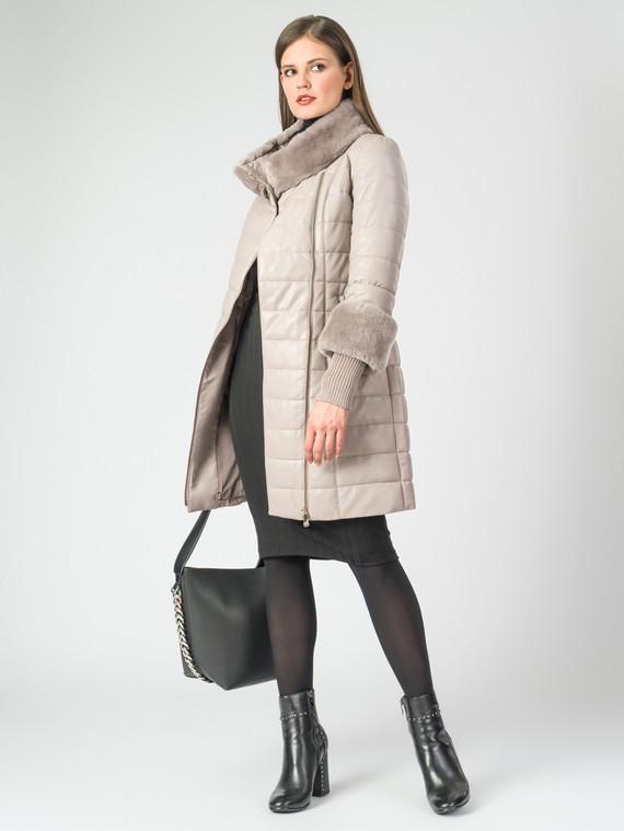 Кожаное пальто эко-кожа 100% П/А, цвет светло-бежевый, арт. 01006988  - цена 13390 руб.  - магазин TOTOGROUP