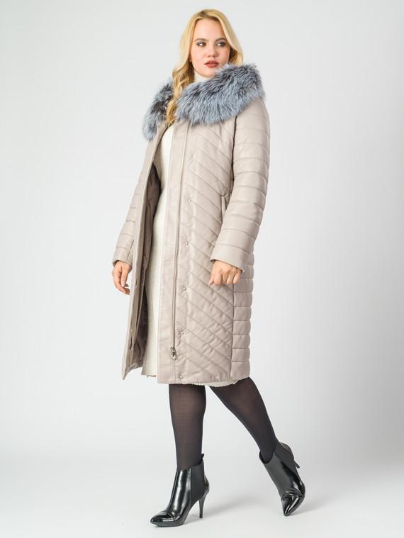 Кожаное пальто эко-кожа 100% П/А, цвет бежевый, арт. 01006998  - цена 14990 руб.  - магазин TOTOGROUP