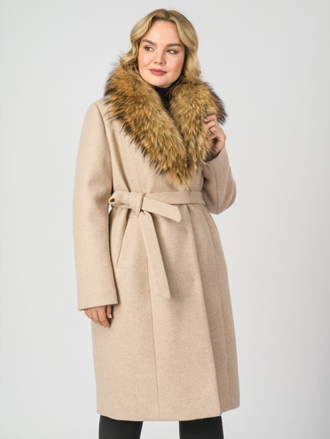 Текстильное пальто 30%шерсть, 70% п\а, цвет бежевый, арт. 01007104  - цена 7490 руб.  - магазин TOTOGROUP