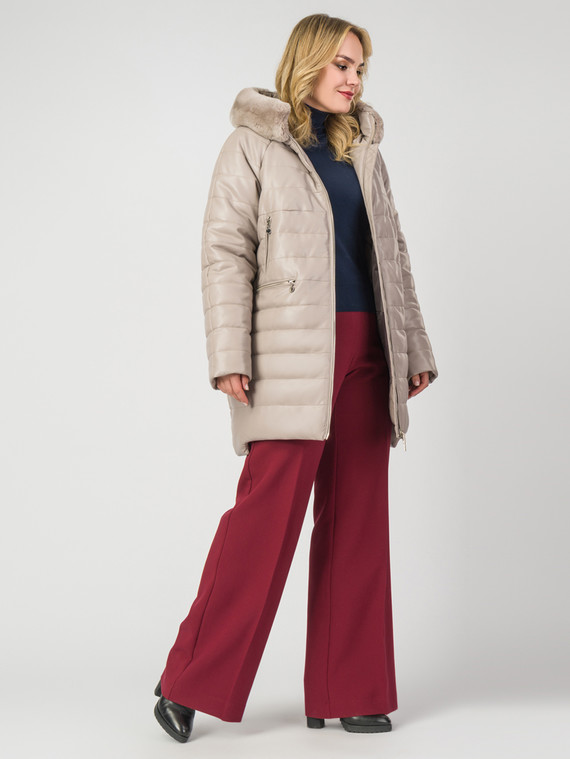 Кожаное пальто эко-кожа 100% П/А, цвет бежевый, арт. 01007123  - цена 14190 руб.  - магазин TOTOGROUP