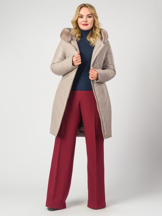 Кожаное пальто эко-кожа 100% П/А, цвет бежевый, арт. 01007124  - цена 14190 руб.  - магазин TOTOGROUP