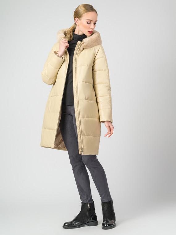Кожаное пальто кожа , цвет бежевый, арт. 01007128  - цена 22690 руб.  - магазин TOTOGROUP