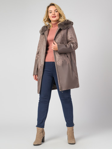 Кожаное пальто эко-замша 100% П/А, цвет светло-коричневый, арт. 01007180  - цена 9990 руб.  - магазин TOTOGROUP