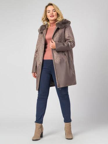 Кожаное пальто эко-замша 100% П/А, цвет светло-коричневый, арт. 01007180  - цена 9490 руб.  - магазин TOTOGROUP