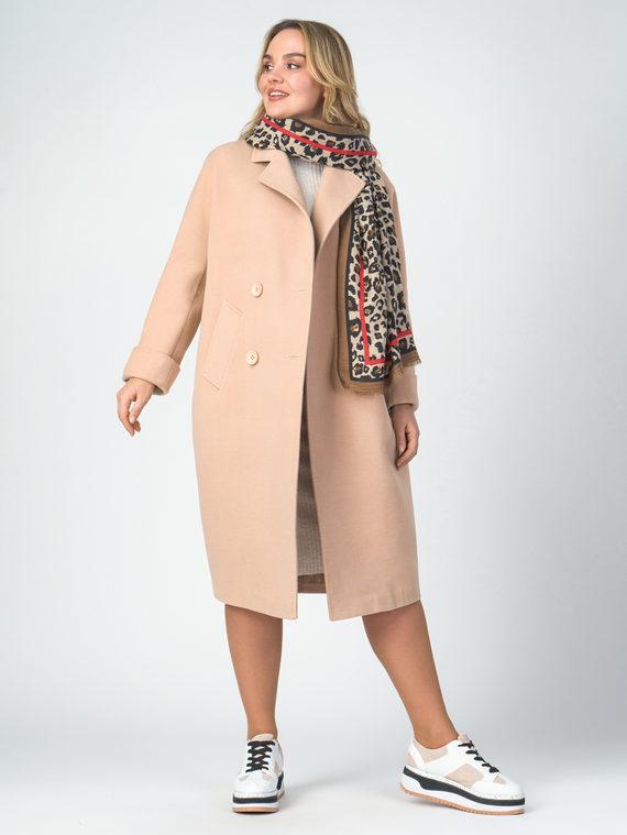 Текстильное пальто 30%шерсть, 70% п.э, цвет бежевый, арт. 01107896  - цена 6290 руб.  - магазин TOTOGROUP