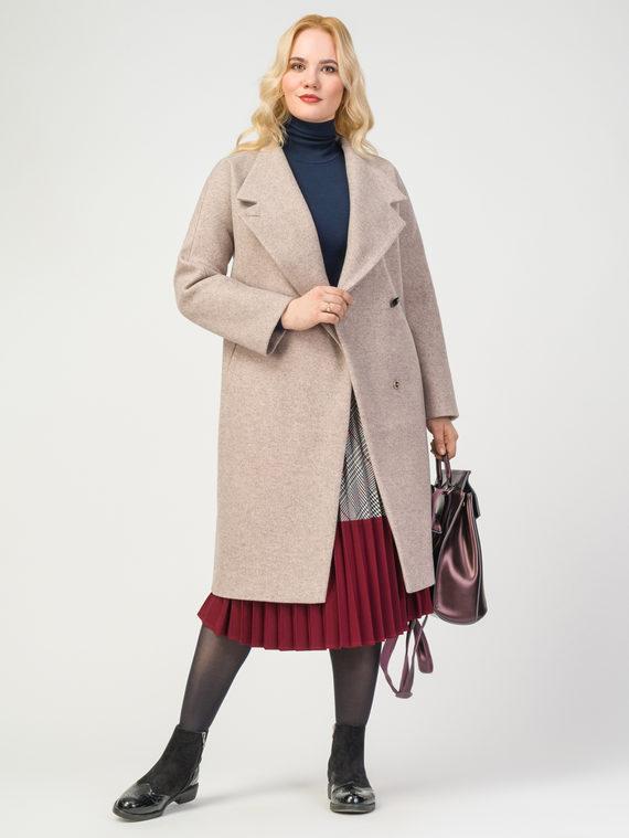 Текстильное пальто 30%шерсть, 70% п.э, цвет бежевый, арт. 01108083  - цена 6290 руб.  - магазин TOTOGROUP