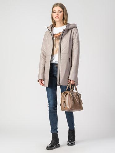 Кожаная куртка эко-кожа 100% П/А, цвет бежевый, арт. 01108087  - цена 3990 руб.  - магазин TOTOGROUP