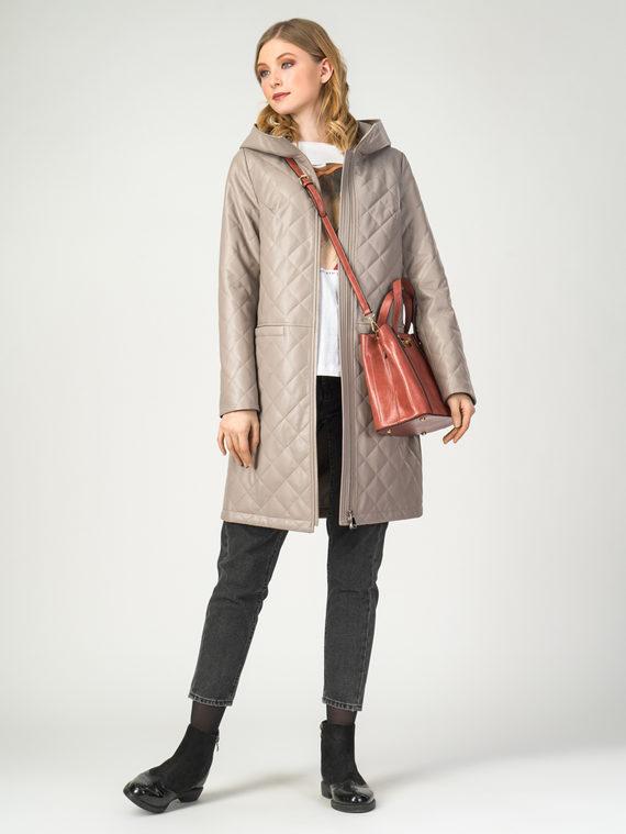 Кожаное пальто эко-кожа 100% П/А, цвет бежевый, арт. 01108088  - цена 6990 руб.  - магазин TOTOGROUP