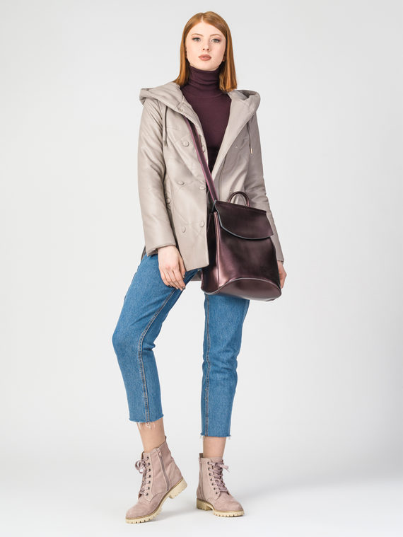 Кожаная куртка эко-кожа 100% П/А, цвет бежевый, арт. 01108090  - цена 5890 руб.  - магазин TOTOGROUP