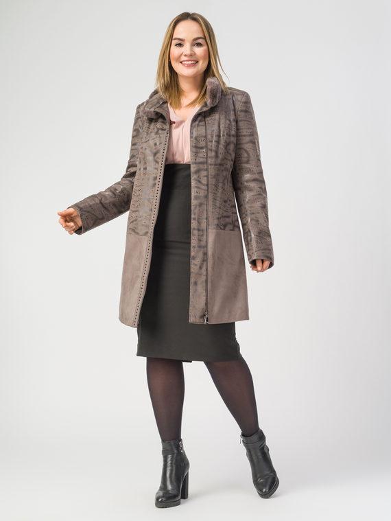Кожаное пальто эко-замша 100% П/А, цвет светло-коричневый, арт. 01108092  - цена 7990 руб.  - магазин TOTOGROUP