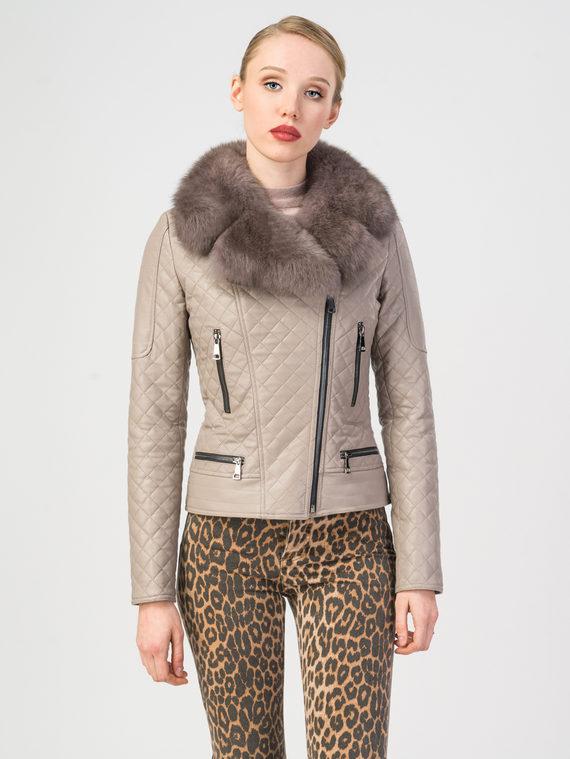 Кожаная куртка эко-кожа 100% П/А, цвет бежевый, арт. 01108096  - цена 9990 руб.  - магазин TOTOGROUP