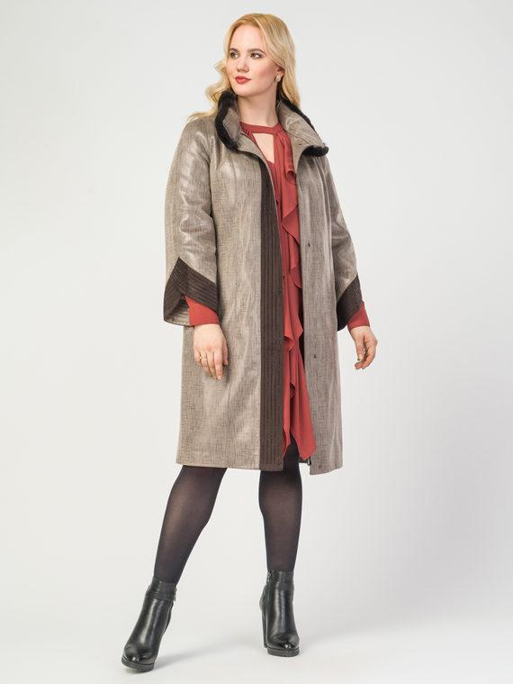 Кожаное пальто эко-замша 100% П/А, цвет бежевый, арт. 01108113  - цена 11990 руб.  - магазин TOTOGROUP
