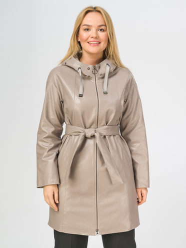 Кожаное пальто эко-кожа 100% П/А, цвет бежевый, арт. 01108170  - цена 7490 руб.  - магазин TOTOGROUP