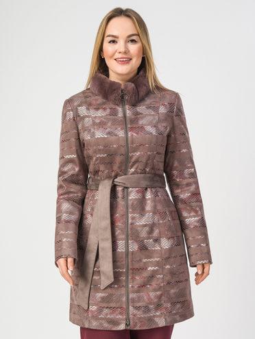 Кожаное пальто эко-замша 100% П/А, цвет светло-коричневый, арт. 01108174  - цена 4990 руб.  - магазин TOTOGROUP